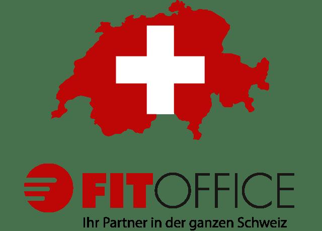 Logo FitOffice avec map de la suisse
